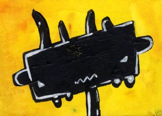 Urban Warrior ACEO Graffiti Art Raw Abstract Painting
