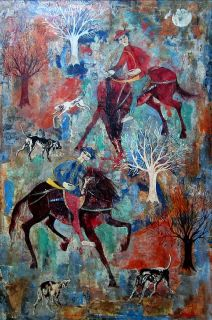 Luciano Spazzali Signed C 1959 Original Oil Painting Caccia
