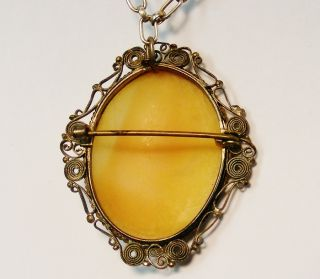 Deco 800 Fine Silver Carved Cameo Brooch Necklace w Chain