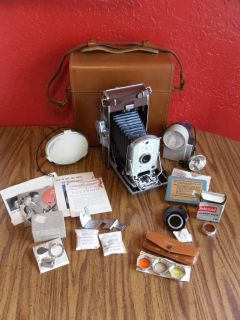 Polaroid Model 95A Land Camera Case Flash Lens Accessories VGC