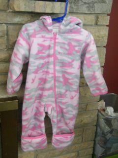 Columbia Baby Girls 12 Mon Pink Camo Fleece Snowsuit Bunting Winter