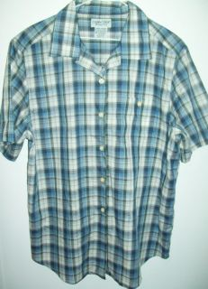 CABIN CREEK WRINKLE FREE BUTTON DOWN SHORT SLEEVE WOMENS BLOUSE SHIRT
