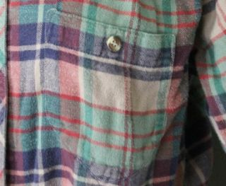 Vintage 90s Cabin Creek Plaid Flannel Shirt Women Large Pastel Grunge