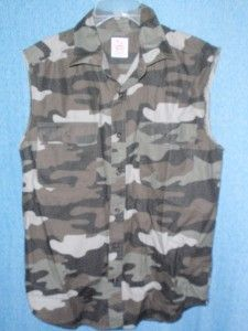 Mens Sleeveless Camouflage Shirt Vest  Size XL  Open Trails  NEW w