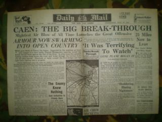 CAEN FRANCE D DAY NORMANDY INVASION CAMPAIGN NEWSPAPER JULY 1944