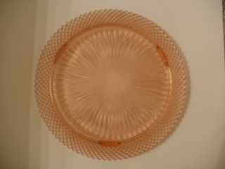 DEPRESSION GLASS NICE MISS AMERICA PATTERN FOOTED CAKE PLATE PINK 12