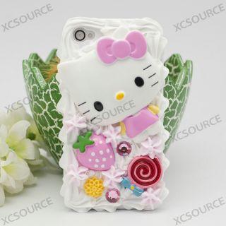 Lovely Bling Sweet Ice Cream Cake kitty Case Cover For iPhone 4G 4S 4