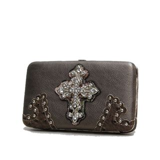 Western Cross Camo Trim Rhinestone Studded Clutch Checkbook Bifold