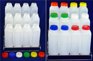 12 New HDPE Plastic Bottles Containers Pint 16 oz. +14 Twist Lids
