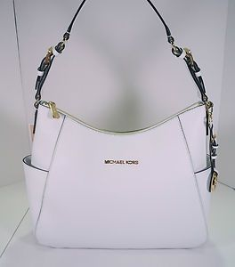 NWT WHITE MICHAEL KORS GENUINE LEATHER SHOULDER HANDBAG PURSE MSRP $