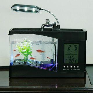 Desktop Fish Tank Aquarium Timer Calendar Clock LED Lamp Light