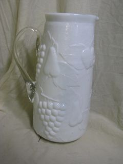 Old Milk Glass Tall Pitcher Fruit Raised Applied Handle