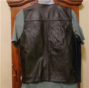 Mens Black Harley Davidson Leather Vest Very Cool