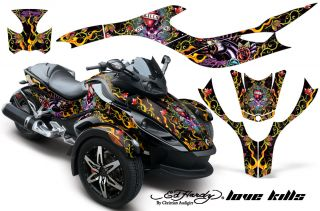 AMR Graphics Decal Kit BRP Canam Spyder Silver Ed Hardy