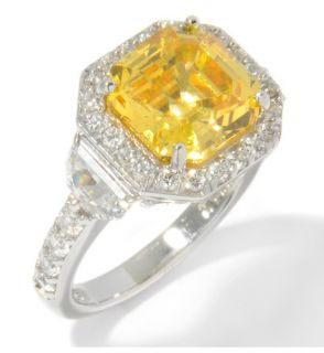 Jean Dousset Absolute Canary Clear Sterling Silver Half Moon Ring Size