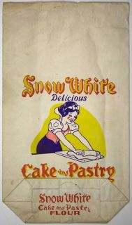 Walt Disneys Snow White Cake and Pastry Flour Sack CA 1940s Master