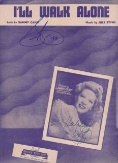 Sheet Music Signed by Dinah Shore Sammy Cahn w COA Provenance
