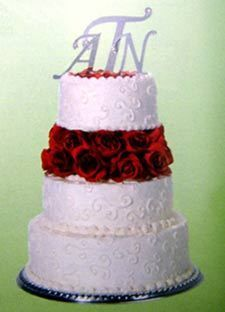Monogram Wedding Birthday Cake Topper Initial Mirror Acrylic Letter