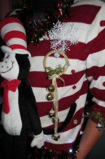 Candy Cane Striped Cat in The Hat Ugly Christmas Sweater Light Up Sz