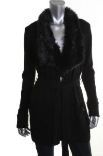 Calvin Klein New Black Faux Fur Belted Cardigan Sweater Petites PXS