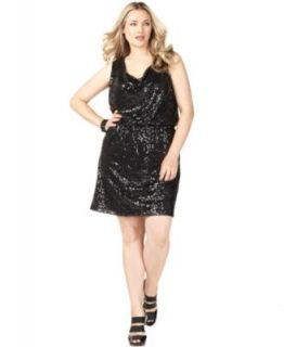 Calvin Klein New Black Sequined Cowl Neck Elastic Waist Clubwear Dress