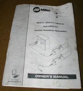 MILLER LMSW 52 PORTABLE SPOT WELDER WELDING MACHINE W/MANUAL, HANDBOOK