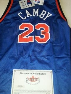 Marcus Camby Signed New York Knicks Jersey FLEER