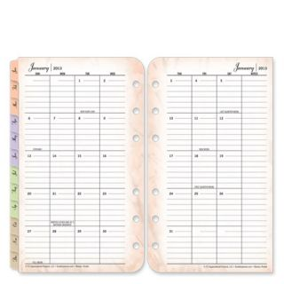 FranklinCovey Pocket Blooms Two Page Monthly Calendar Tabs Jan 2013