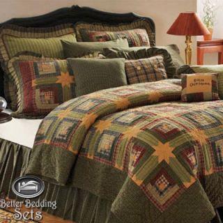 Tea Cabin Lodge Twin Queen Cal King Size Primitive Quilt Bedding Set