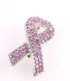 Rhinestone Breast Cancer Pink Ribbon Brooch