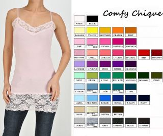 Long Lace Camisole Cami Tunic Tank Top s M L XL All Colors Adjust