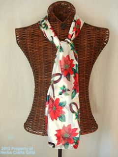 Scarf Winter Holiday Poinsettia Christmas White 13X60 Long Neck New