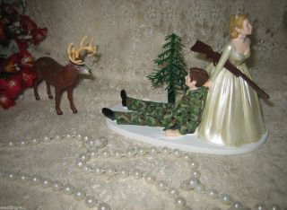 Humorous Wedding Ivory Camo Deer Hunter Hunting Cake Topper