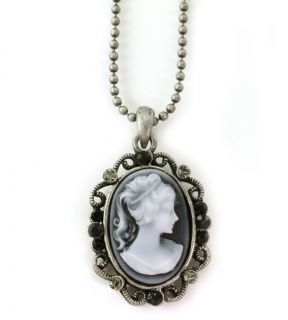 Adorable Gray Black Cameo Pendant Necklace Antique Bronze Brass