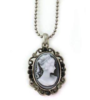 Adorable Gray Black Cameo Pendant Necklace Antique Bronze Brass