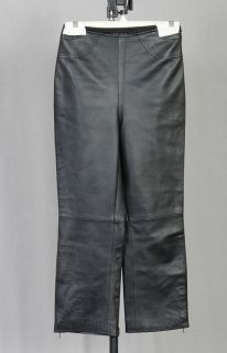 escada black lambskin leather capri pants sz 34