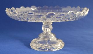 Antique Canadian Pressed Glass NS Nova Scotia Diamond Ray Cake Plate