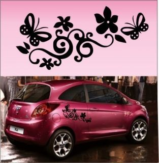 2X Butterfly Flower Vinyl Car Graphics Stickers Decals