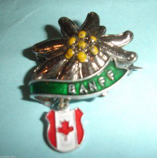 Ski Skiing Banff Lapel Pin Badge Canada Flower