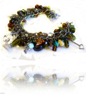 Soft GREEN Amber BROWN Charm BRACELET Earring SET 925 Silver RING Old