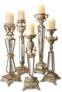 Versailles Mirror Candleholders Silver Leaf Finish 18in 26in Set of 5