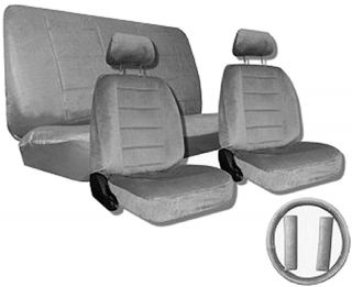 Gray Quilted Velour Encore Car Truck Seat Covers Accessories 1