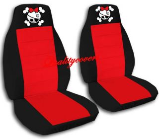 Front Girly Skull Car Seat Covers Black Red Back Seat Avbl