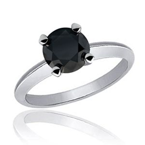 Shiny 5 Carat Round Black Diamond Solitaire Ring Solid 14K White Gold