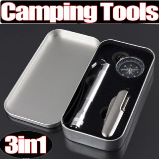 3in1 Camping Survival Tools with Compass Mini Flashlight Multi