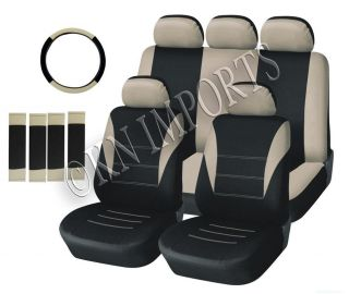 14PCS BLACK & BEIGE CAR SEAT COVERS SET FOR LOW BACK BUCKETS