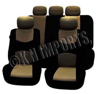 9pcs Semi Custom Car Seat Covers Black Tan Low Back w Split Bench for