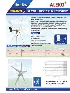 Aleko WG450A 450 Watt 12 Volt Residential Wind Turbine Generator