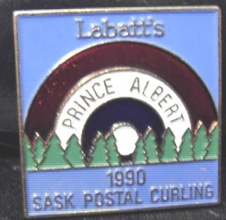 1990 LABATT SASK. POSTAL CURLING, PRINCE ALBERT  MINT, UNUSUAL