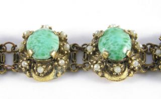 ORIGINAL VINTAGE ART DECO ORNATE PEKING GLASS STONE SET BRACELET